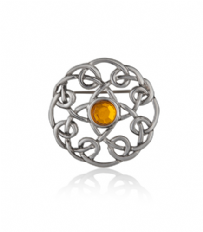 Looping Knotwork Pewter Brooch With Stone